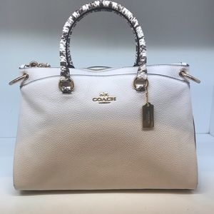 White and snakeskin coach purse